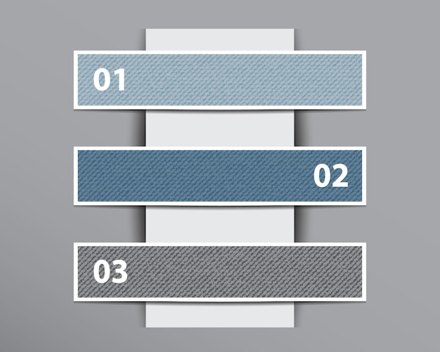 Infographic denim banners on vertical paper layer.