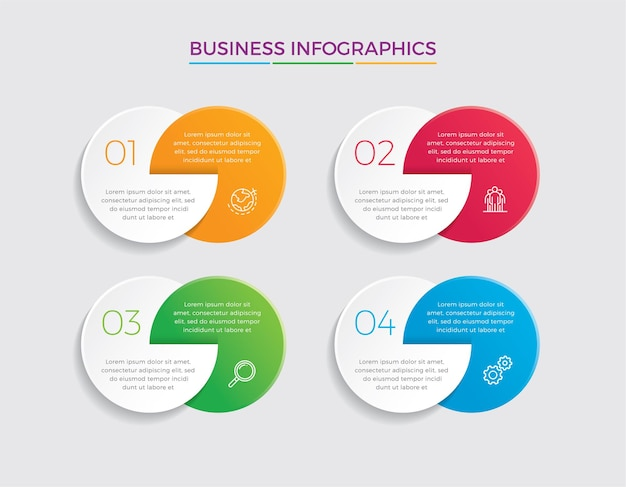 인포 그래픽 디자인 및 마케팅. 4 가지 옵션, 단계 또는 프로세스가 포함 된 비즈니스 개념.
