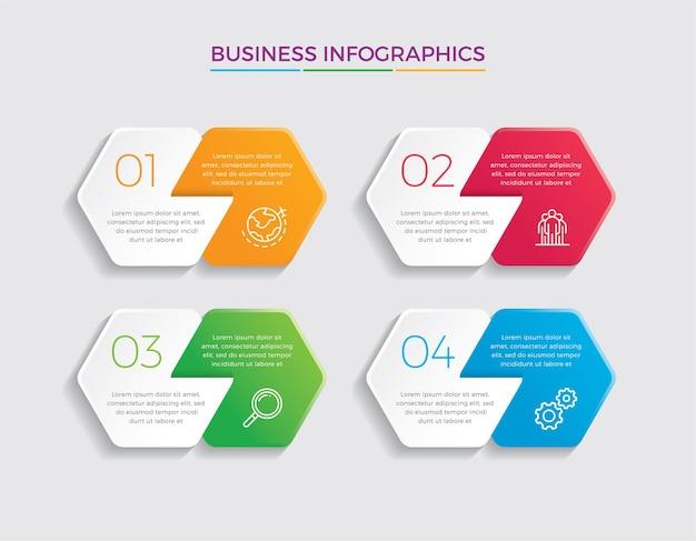インフォグラフィックデザインとマーケティング。 4つのオプション、ステップまたはプロセスを持つビジネスコンセプト。