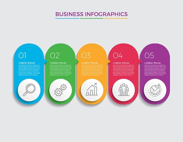 인포 그래픽 디자인 및 마케팅. 5 가지 옵션, 단계 또는 프로세스가 포함 된 비즈니스 개념.