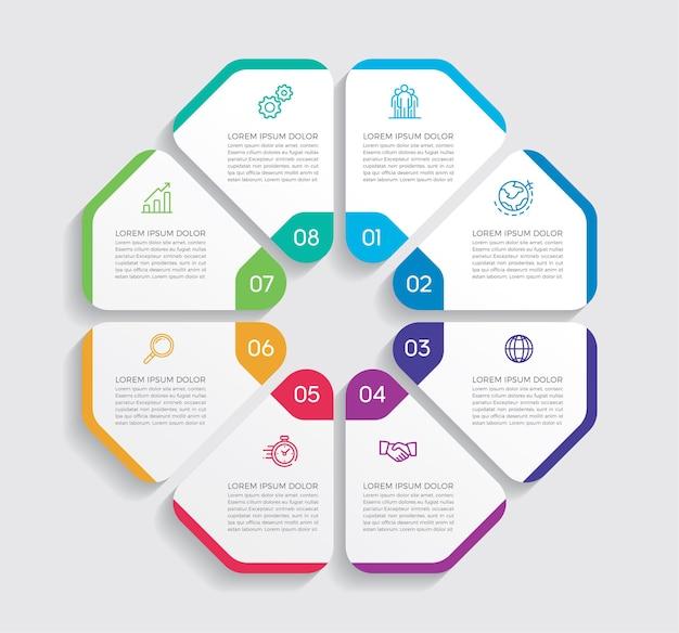 인포 그래픽 디자인 및 마케팅. 8 가지 옵션, 단계 또는 프로세스가 포함 된 비즈니스 개념.