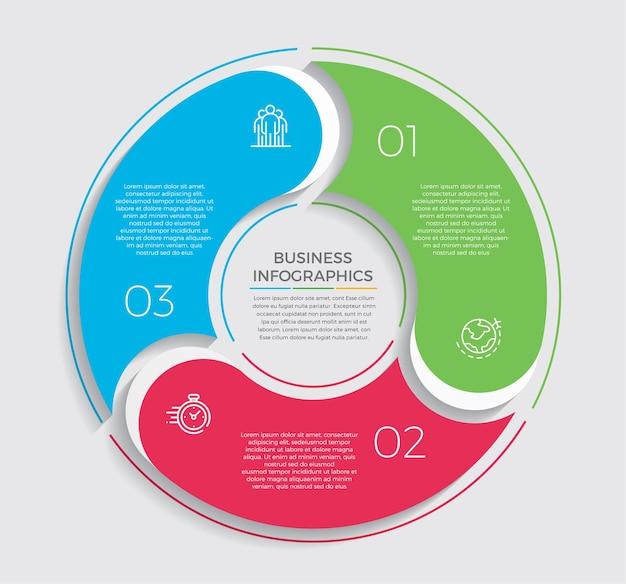 인포 그래픽 디자인 및 마케팅 아이콘. 3 가지 옵션, 단계 또는 프로세스가있는 비즈니스 개념.