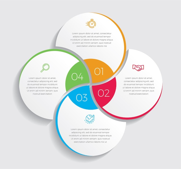 인포 그래픽 디자인 및 마케팅 아이콘. 4 가지 옵션, 단계 또는 프로세스가 포함 된 비즈니스 개념.