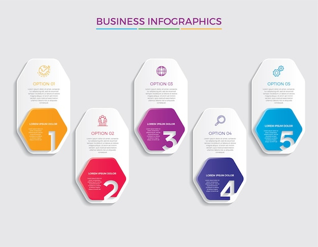インフォグラフィックデザインとマーケティングアイコン。 5つのオプション、ステップ、またはプロセスを備えたビジネスコンセプト。