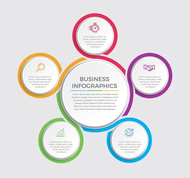 Инфографический дизайн и маркетинговые иконки. бизнес-концепция с 5 вариантами, шагами или процессами.