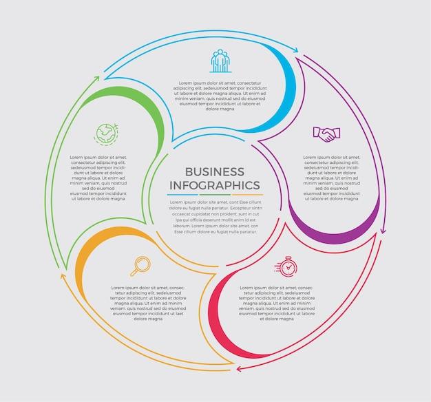 인포 그래픽 디자인 및 마케팅 아이콘. 5 가지 옵션, 단계 또는 프로세스가있는 비즈니스 개념.