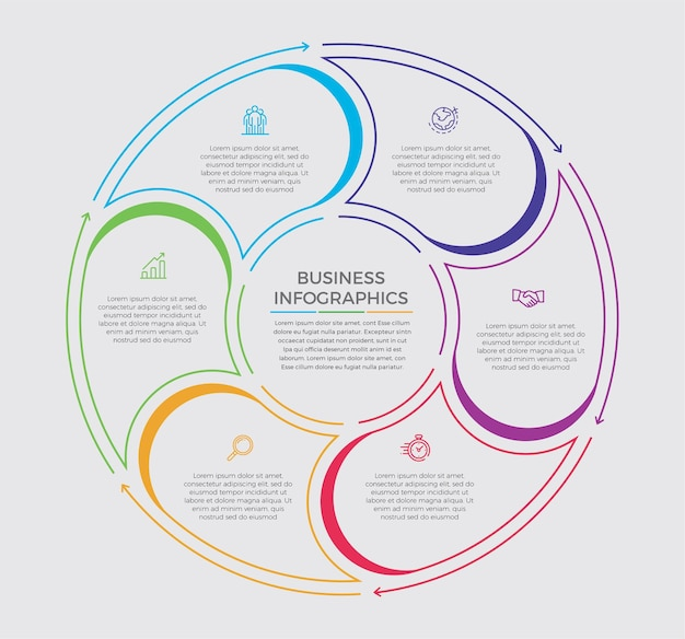 インフォグラフィックデザインとマーケティングアイコン。 6つのオプション、ステップ、またはプロセスを備えたビジネスコンセプト。