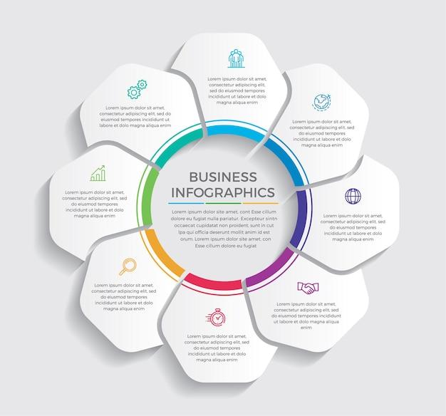 인포 그래픽 디자인 및 마케팅 아이콘. 8 가지 옵션, 단계 또는 프로세스가있는 비즈니스 개념.