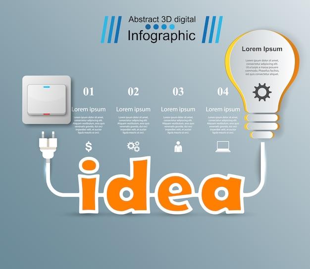 Инфографический дизайн. лампочка, идея, световой значок.