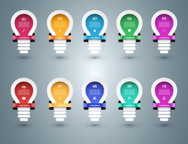 Инфографический дизайн. лампочка, световой значок.