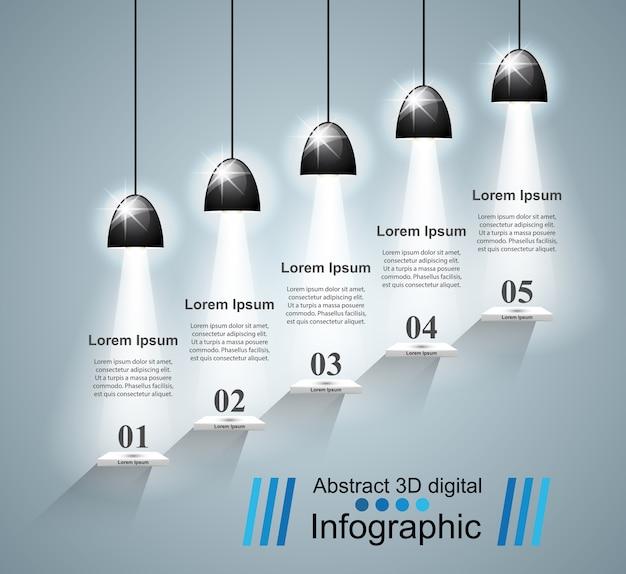 インフォグラフィックデザイン。 bulb、lightアイコン。