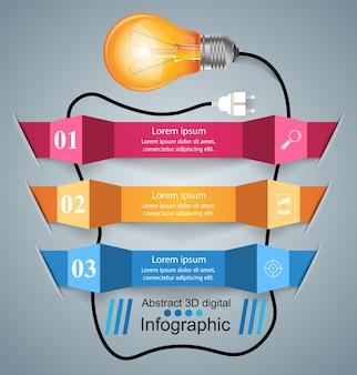 Инфографический дизайн. лампочка, световой значок. Premium векторы