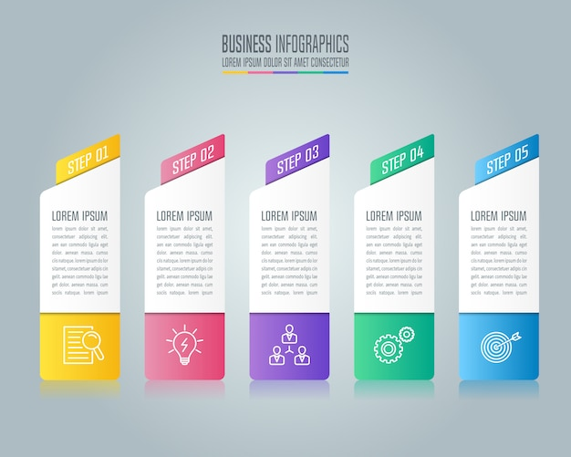 Infographic design business concept with 5 options, parts or processes.