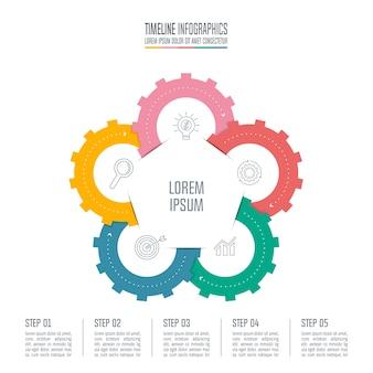 5つのオプションを持つインフォグラフィックデザインのビジネスコンセプト。