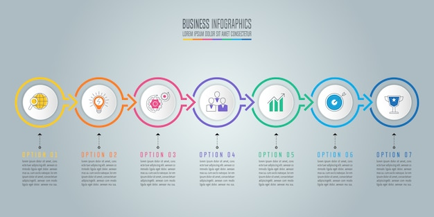 Infographic design business concept with 7 options, parts or processes.