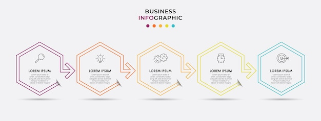 Infographic design business template with icons and 5 five options or steps