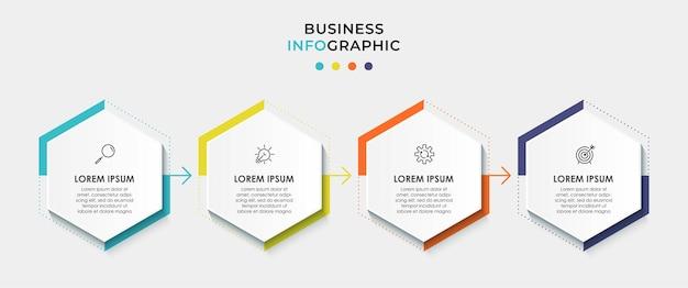 아이콘과 4가지 옵션 또는 단계가 있는 인포그래픽 디자인 비즈니스 템플릿