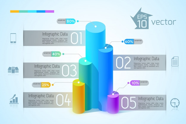 Infographic design concept with colorful 3d graphs five options and business icons on blue illustration