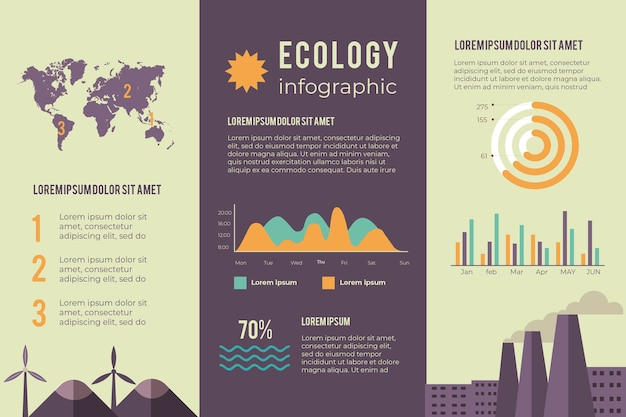 Infographic design for ecology in retro colors