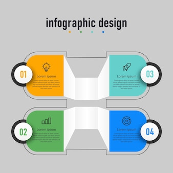 Infographic design element business step timeline