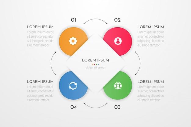 4つの円オプション、部品、ステップ、タイムライン、またはプロセスを備えたビジネスデータのインフォグラフィックデザイン要素。 。