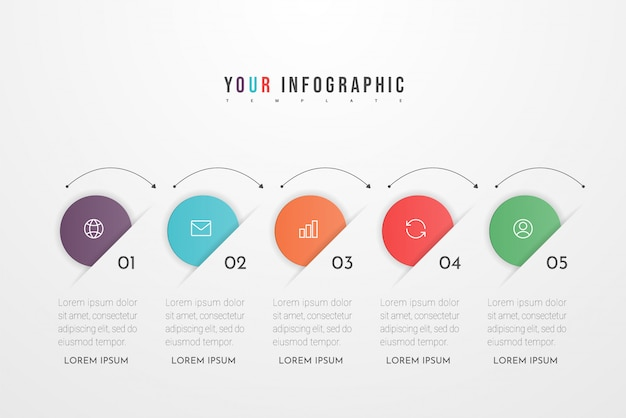 Infographic design elements for your business data with five circle options, parts, steps, timelines or processes. .