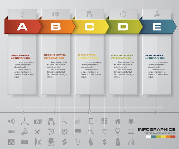 Infographic design elements for your business with 5 options. 5 steps timeline presentatio