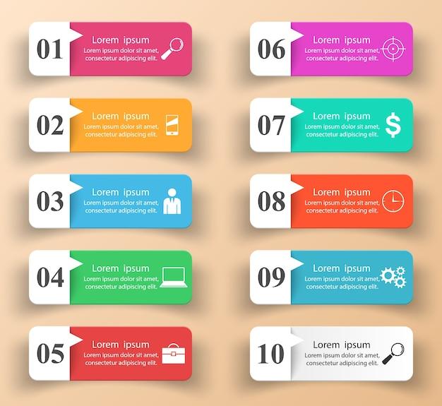 インフォグラフィックデザイン。 10の項目のリスト。
