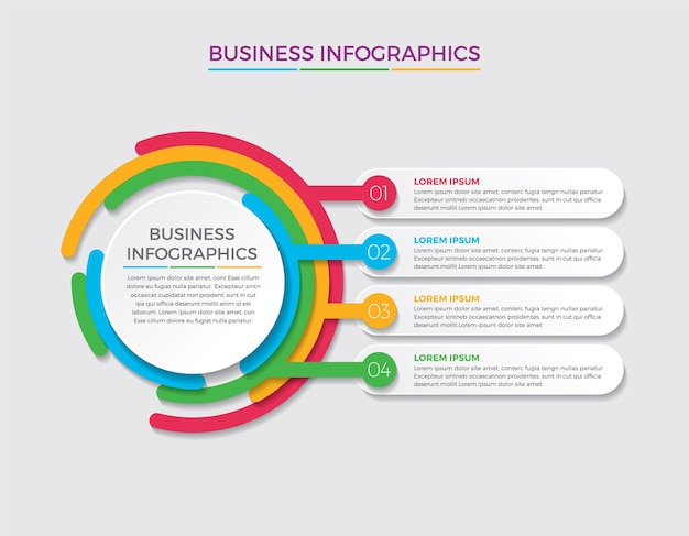 Infographic design and marketing. business concept with 4 options, steps or processes.