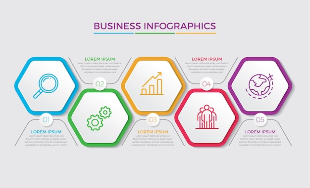 Infographic design and marketing. business concept with 5 options, steps or processes.