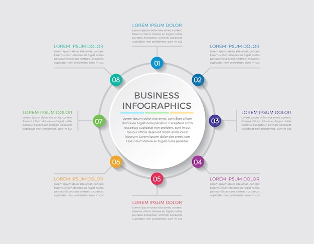 Infographic design and marketing. business concept with 8 options, steps or processes.