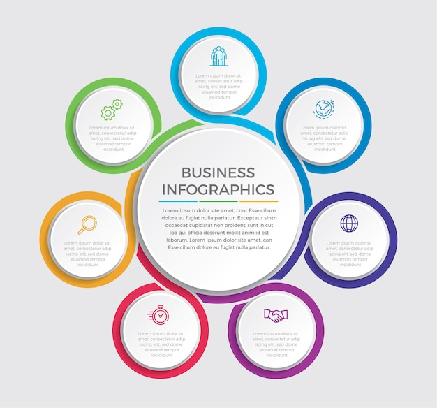 Infographic design   and marketing icons . business concept with 7 options, steps or processes.