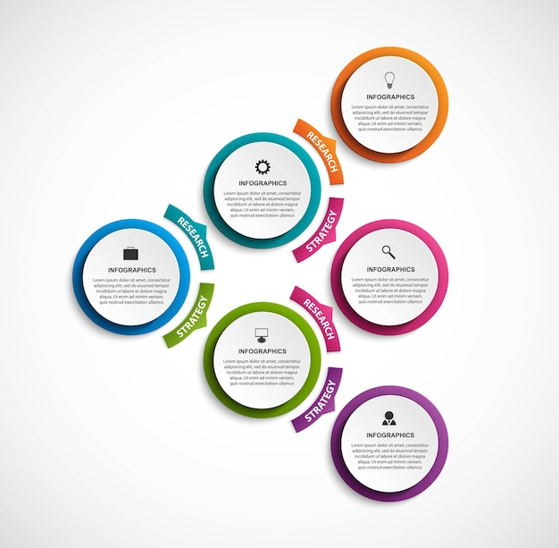 Шаблон организационной диаграммы дизайна инфографики для бизнес-презентаций, информационного баннера, графика или веб-дизайна.