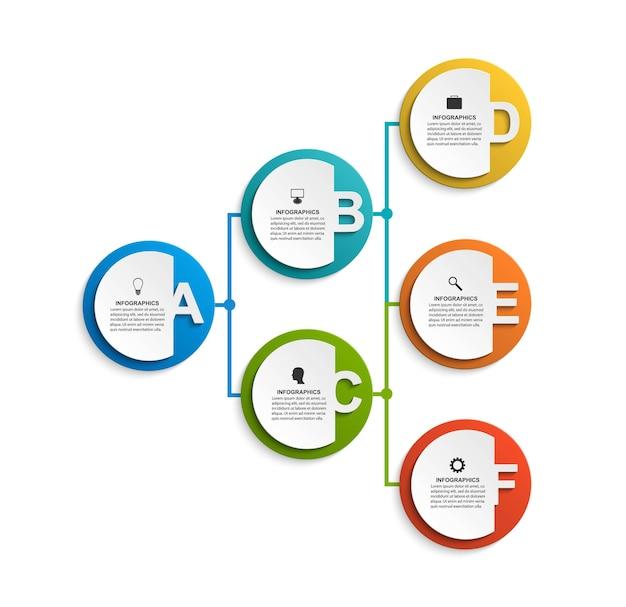Шаблон диаграммы организации дизайна инфографики. числовой инфографический шаблон.