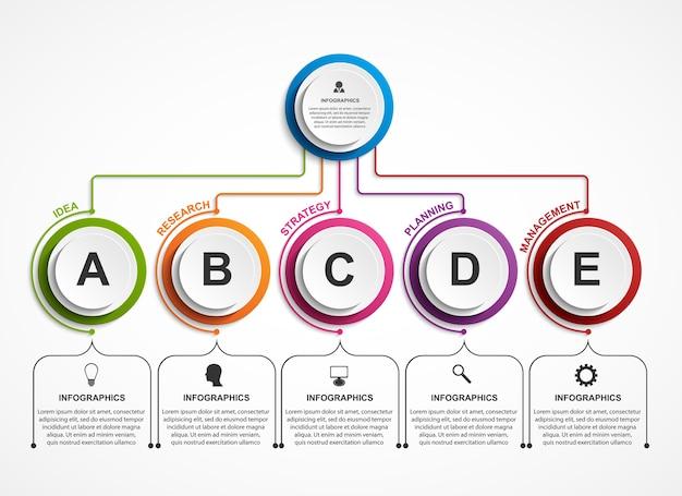 Шаблон диаграммы организации дизайна инфографики.