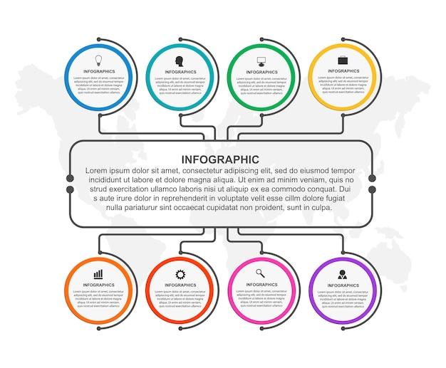 インフォグラフィックデザイン組織図テンプレート