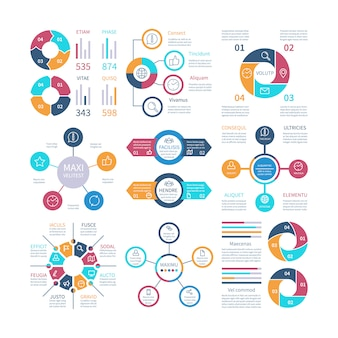 Infographic design pie charts and step circle diagram, text layouts bar graphs and histograms infographics set