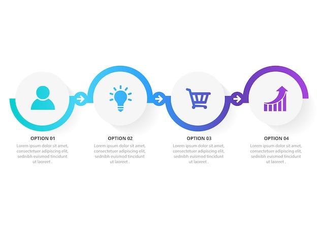 4つのオプションを備えたインフォグラフィックデザインプレゼンテーションビジネスインフォグラフィックテンプレート