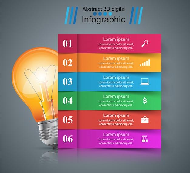 Шаблон инфографического дизайна и значки маркетинга. иконка лампы. световой значок.