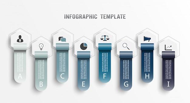 インフォグラフィックデザインテンプレートとマーケティングアイコン。図、グラフ、プレゼンテーション、円形グラフのテンプレートです。 8つのオプションのビジネスコンセプト