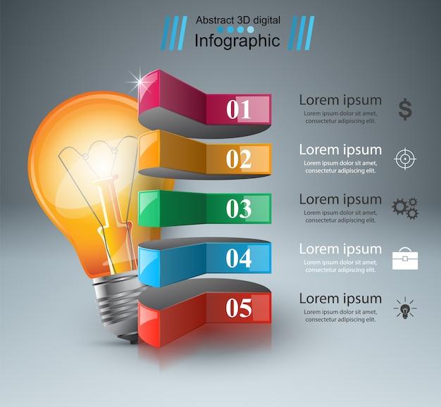 Infographic design template. bulb icon. light icon.