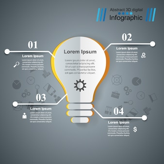 Infographic design template and bulb.