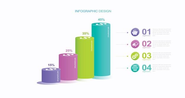 インフォグラフィックデザインテンプレート4ステップのストックイラストのクリエイティブコンセプト