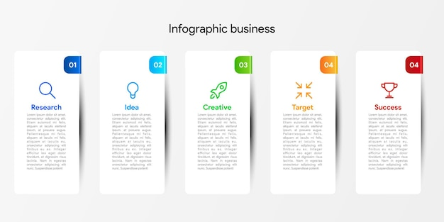 Инфографический дизайн шаблона для бизнеса 6 шагов