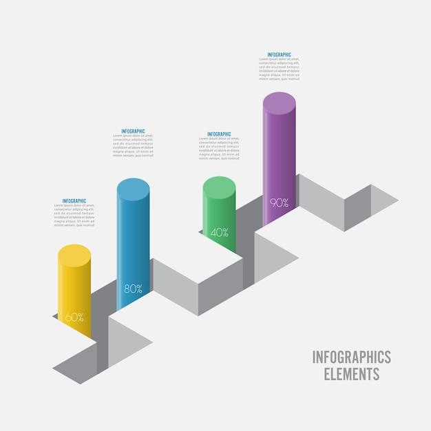 インフォグラフィックデザインテンプレート。オプション、部品、ステップまたはプロセスを含むインフォグラフィックビジネスコンセプト。