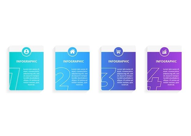 Шаблон оформления инфографики с 4 вариантами или шагами