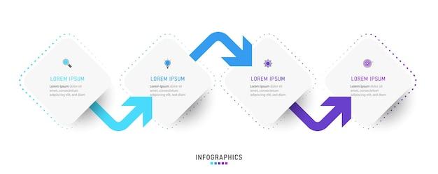 4つのオプションまたはステップを備えたインフォグラフィックデザインテンプレート。