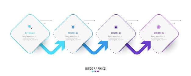 4 가지 옵션 또는 단계가있는 인포 그래픽 디자인 템플릿.