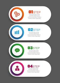 Infographic design template with 4 options, parts, steps or processes