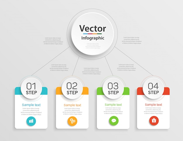 Шаблон оформления инфографики с 4 шагами